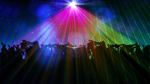 Nightclub with laser show and dancing crowd Stock Video Footage