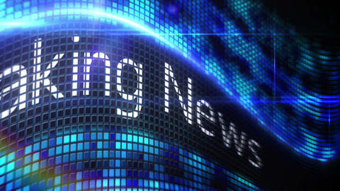 Breaking news message on blue pixel screen Footage