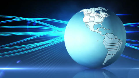 Blue earth graphic spinning with blue wave design Animation