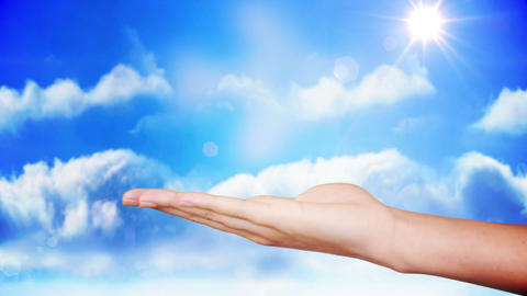Hand presenting airplane cloud design Footage