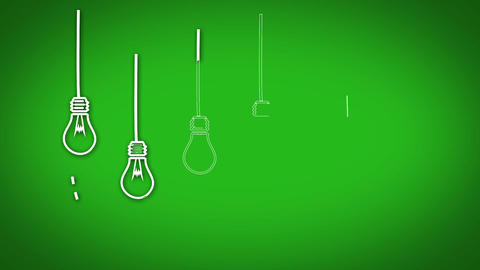 Light bulb graphics appearing in row on green background Animation