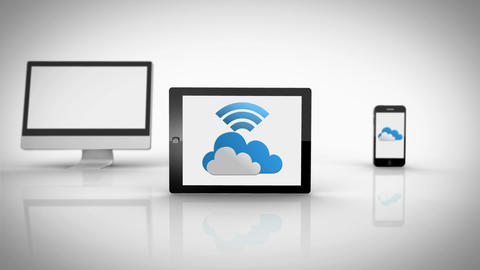 Media devices showing cloud computing graphic with wifi symbol Animation