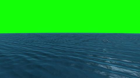 Still blue ocean under green screen sky Animation