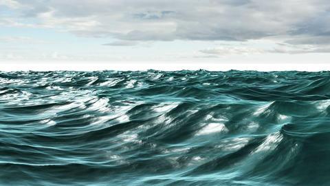 Choppy blue ocean under red screen sky Animation