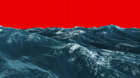 Stormy blue ocean under red screen sky Animation