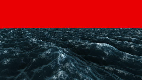 Stormy blue ocean under red screen sky, Stock Animation
