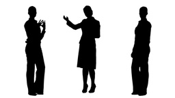 Silhouettes of businesswomen presenting and speaking Animation