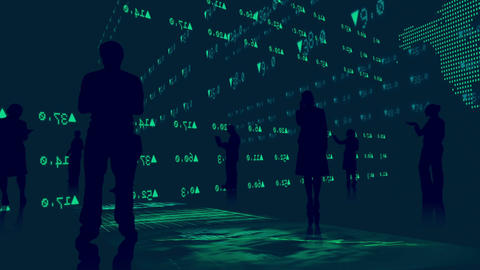 Silhouettes of business people against stock market graphics Stock Video Footage