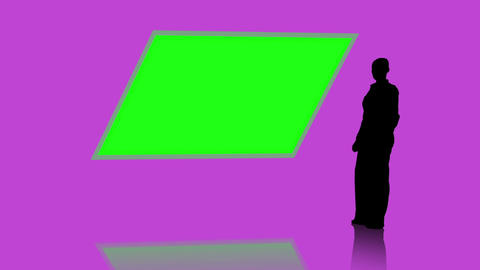 Silhouette of businesswoman presenting chroma key Stock Video Footage