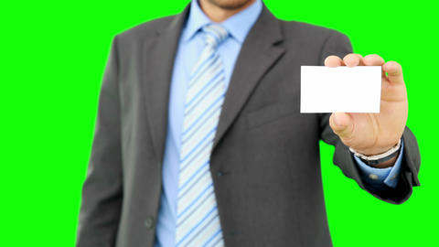 Businessman showing his business card Footage