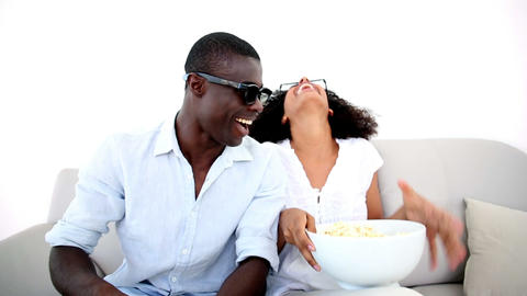 Couple watching a 3d movie Footage