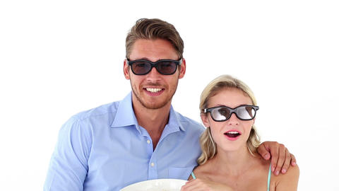 Attractive young couple watching a 3d movie Footage