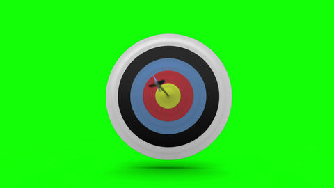 Arrow flying towards dart board and hitting target Animation