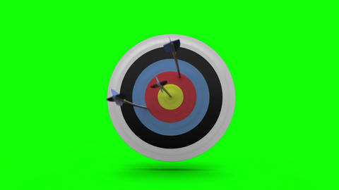 Arrows flying towards dart board and hitting target Animation