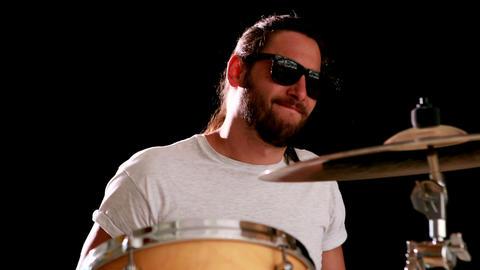 Drummer playing his drum kit Footage