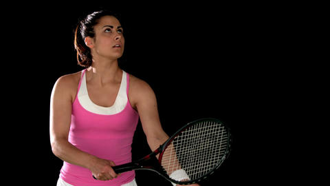 Tennis player ready to serve Footage