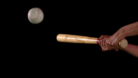 Baseball Bat Hitting The Ball stock footage