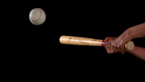 Baseball Bat Hitting The Ball stock footage