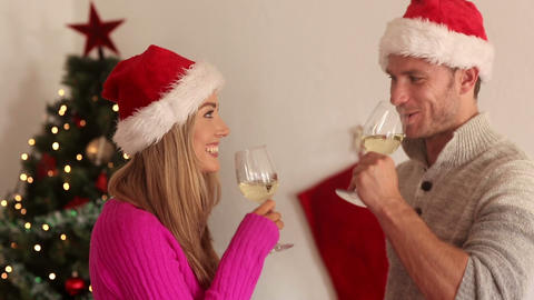 Couple toasting with a glass of wine at christmas Live Action