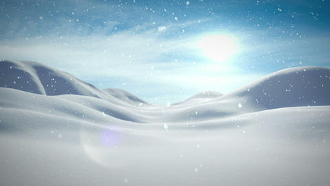 Snow falling on calm snowy landscape Animation