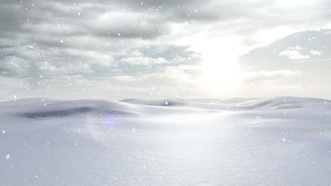 Snow falling in a calm snowy landscape Animation