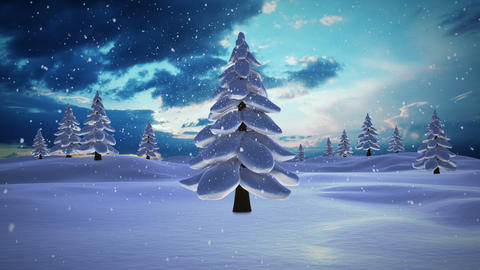 Snow falling on fir tree forest at night Animation