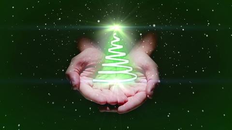 Hand presenting christmas tree design Animation
