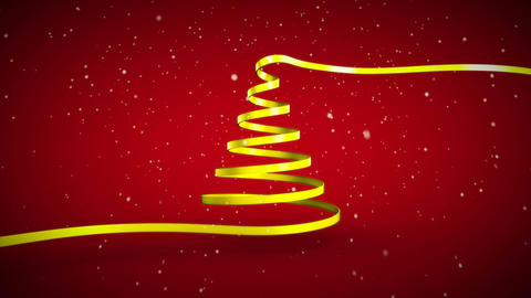 Ribbon swirling to form christmas tree shape Animation