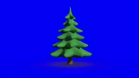 Revolving fir tree on blue screen Animation