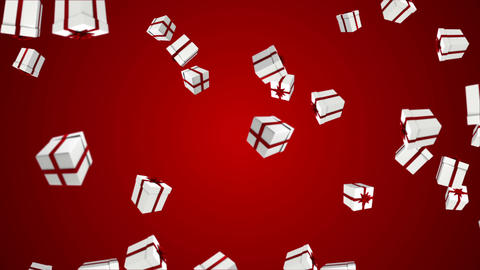 Red and white presents falling on red Animation