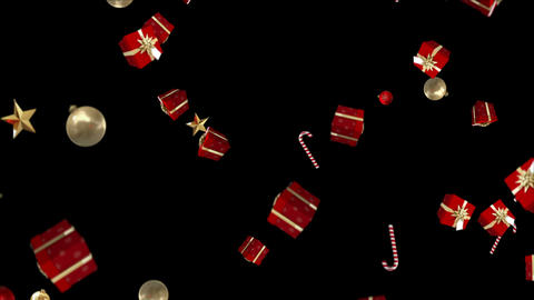 Gifts candy canes and christmas decorations falling Animation
