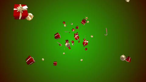 Christmas gifts decorations and candy canes moving Animation