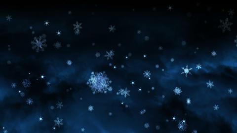 White snowflakes falling on night background Animation