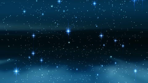 Star shining brightly in night sky Animation
