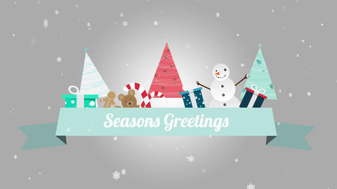 Seasons greetings banner with christmas illustrations Animation