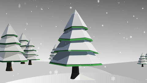 Snowflakes falling on snowy fir trees Animation