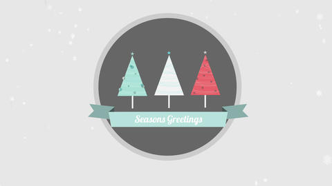 Seasons Greetings Banner With Christmas Tree Illus stock footage