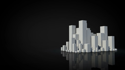 Grey city appearing with copy space on black Footage