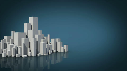 Grey city appearing with copy space on blue Animation