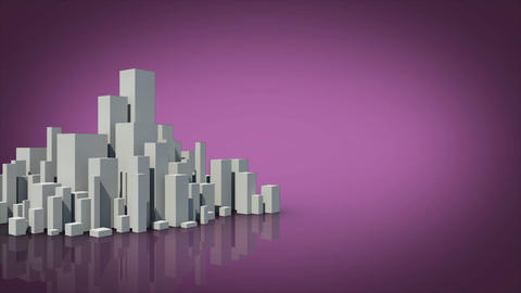 Grey city appearing with copy space on purple Animation