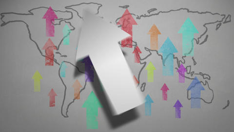 Arrows Pointing Across World Map stock footage