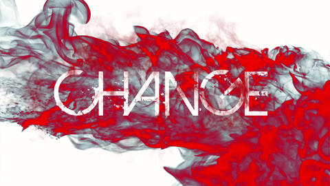 Red ink swirling in water with change message Footage