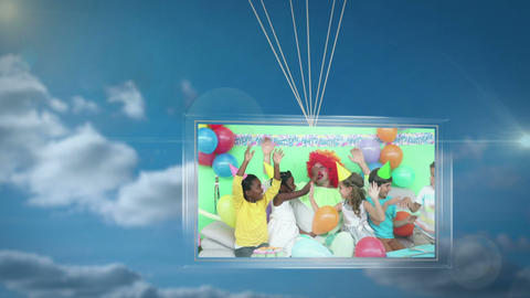 Balloons carrying screen showing birthday party Animation