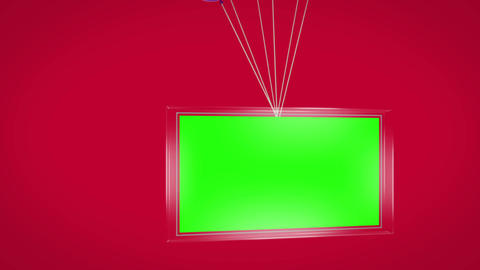 Balloons carrying green screen display Animation