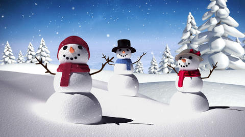 Snow family in a calm snowy landscape Animation