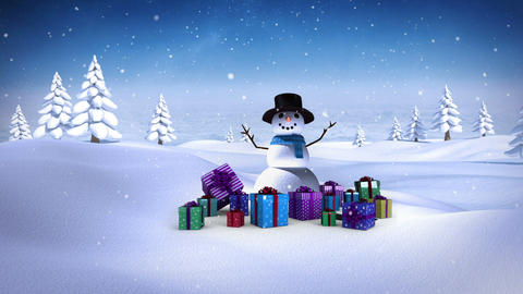 Snowman with christmas gifts in snowy landscape Animation