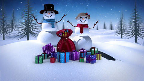 Snowman and woman with christmas gifts in snowy landscape Animation
