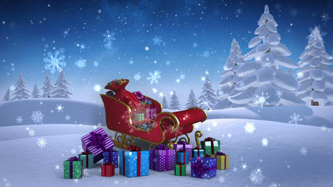 Santa sled full of gifts in snowy landscape Animation