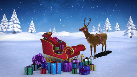 Rudolph with santa sled full of gifts in snowy landscape Animation