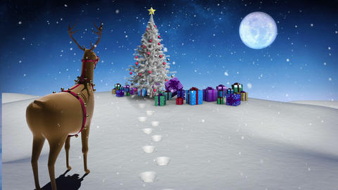 Rudolph looking at christmas gifts under fir tree Animation